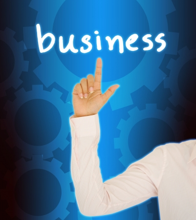 Business woman hand Contact Of bussinet button photo
