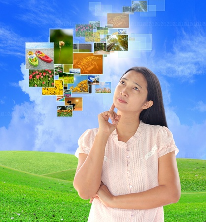 woman looking button streaming images Stock Photo - 19384855