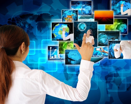 women Hand pushing button streaming multimedia from internet Stock Photo - 19384859