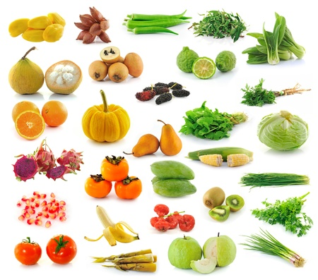 fruit and Vegetables collection isolated on white background photo
