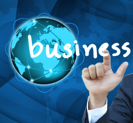 Business man hand Contact Of bussinet button photo