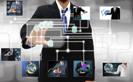 実業家タッチ画面のインターフェイスに指のスキャン 写真素材 - 20403961
