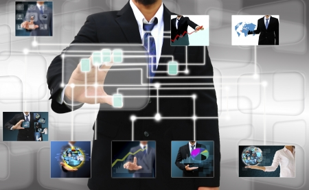 the signature: businessman scanning of a finger on a touch screen interface