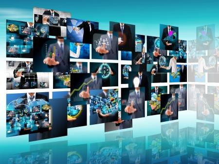 テレビ、インターネットの生産技術とビジネス コンセプト