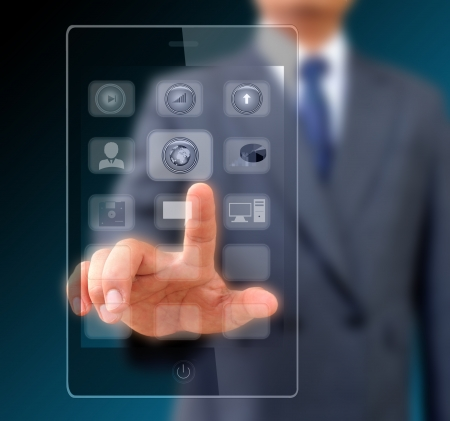 Businessman touching screen on modern mobile smart phone Stock Photo