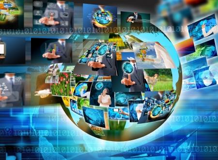 Televisie en Internet van de productie. Technologie en business concept Stockfoto