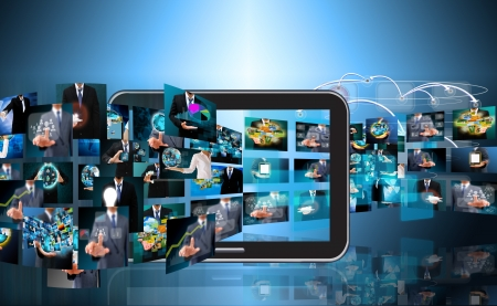 Televisie en Internet van de productie. Technologie en business concept Stockfoto