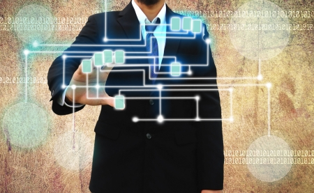 decipher: businessman scanning of a finger on Grunge background  Stock Photo