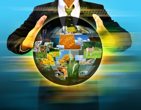 businessman hand holding world Social Network Display photo