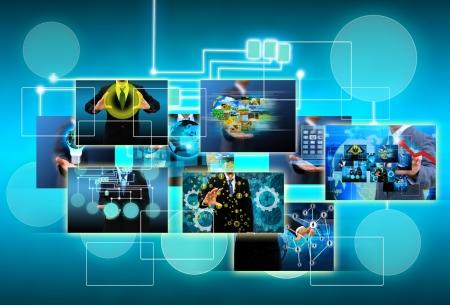 m�dia: tecnologia e conceito de neg