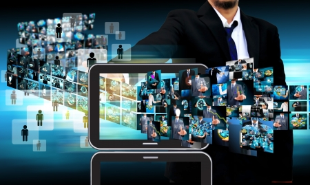 businessman Contact Television and internet production .technology and business concept photo