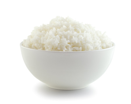 cereal bowl: Rice in a bowl on a white background