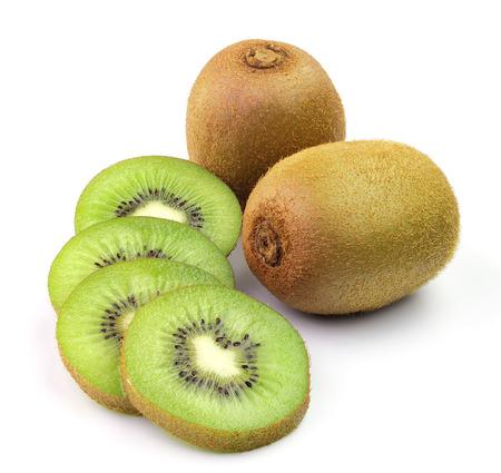 eating fruit: Juicy kiwi fruit isolated on white background