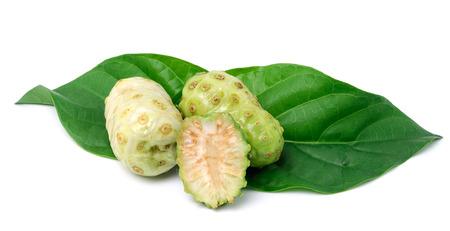 noni fruit: Exotic Fruit - Noni with  leaf on white  Stock Photo