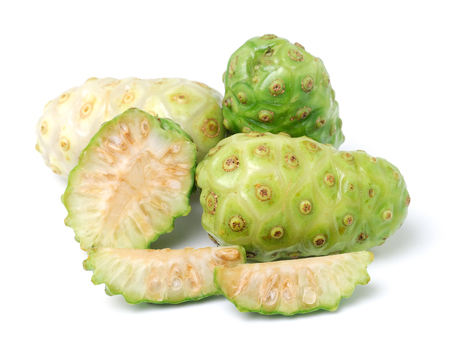 noni: Exotic Fruit - Noni on white Stock Photo