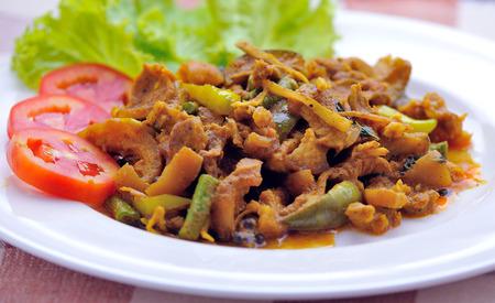Fried pork with chili paste, Thai food. photo
