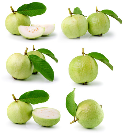 guava: Guava (tropical fruit) on white background