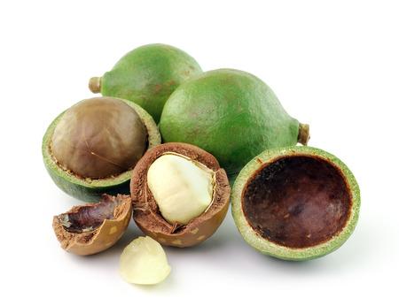 macadamia nuts on white