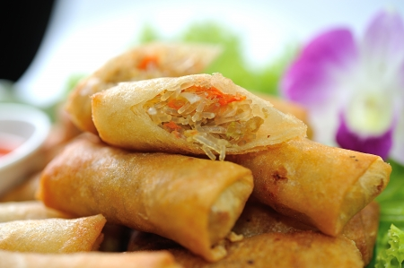 dim sum: Fried Chinese Traditional Spring rolls food Stock Photo
