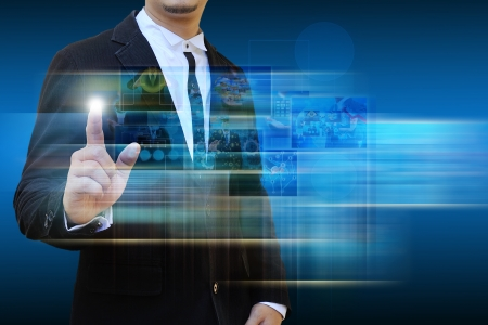 increment: businessman contact Reaching images streaming in hands .Financial and technologies concepts