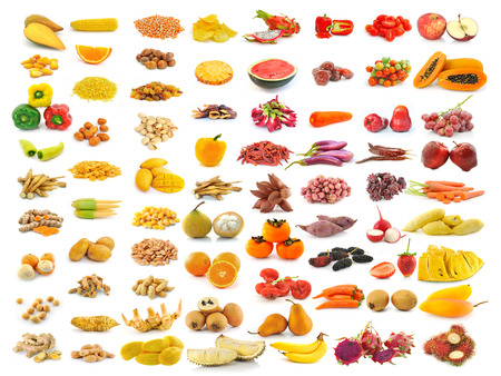 red yellow food collection isolated on white background photo
