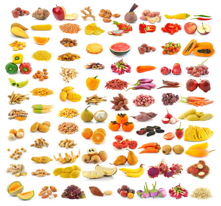 food collection isolated on white background photo