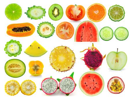 fruit slice collection isolated on white background photo