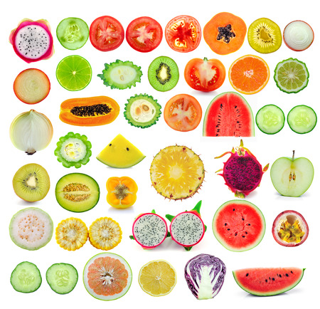 fruit and vegetable slice collection isolated on white background photo