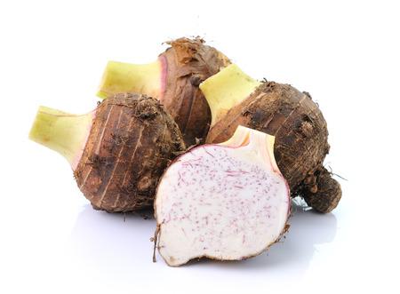 taro: taro roots isolated on white background