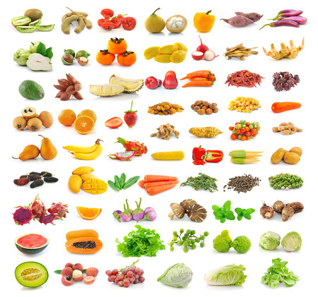 fruit and vegetable collection isolated on white background photo