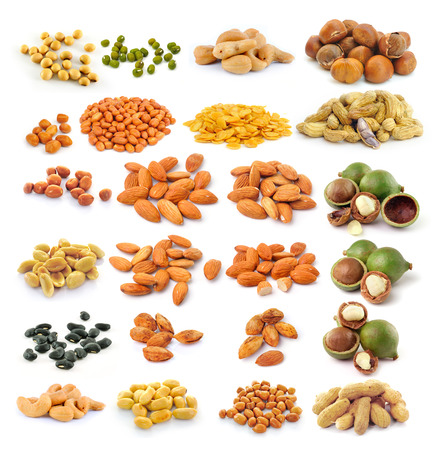 almond ,macadamia nuts, peanut , black beans, Cashew Nuts, green beans, soy beans  isolated on white background photo