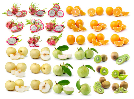 orange, kiwi, guava, pear,dragon fruit isolated on white background photo