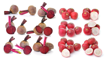 Beetroots and radish isolated on white background photo