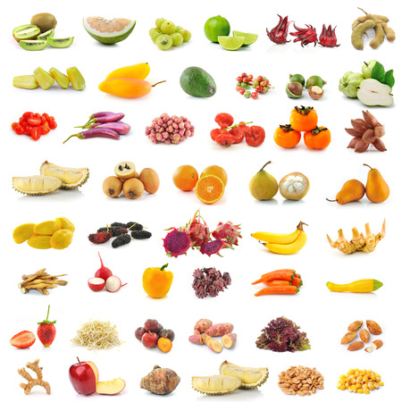 fruit, vegetable, herb, spices isolated on white background photo