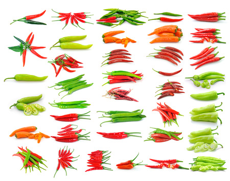hot chili pepper isolated on white background photo