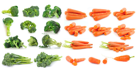 Broccoli and carrot isolated on white background photo