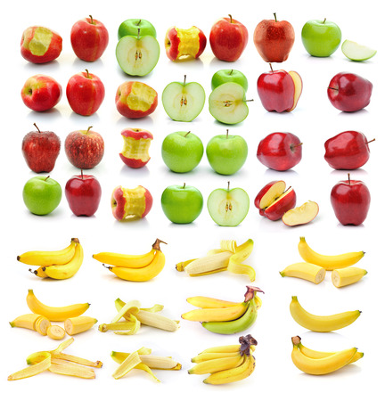 banana , Red ripe and green apple isolated on white background photo
