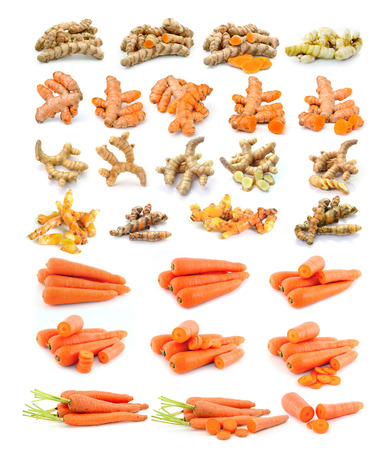 turmeric, carrot  isolated on white background photo