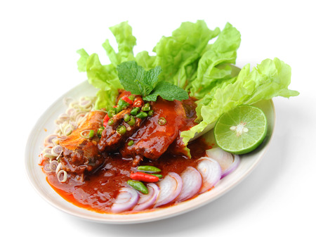 Spicy Sardines in tomato sauce canned fish ,Yum thai food style Stock Photo