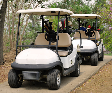 golf cart: Golf cart or club car at golf course