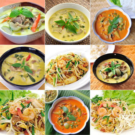 thaifood, green curry , padthai  photo