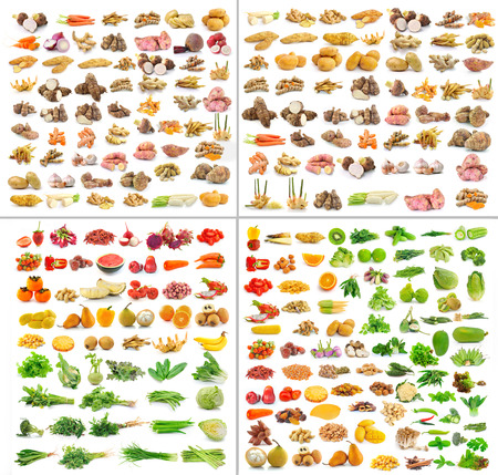 collection of Fruits and vegetable  isolated on white background photo