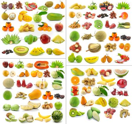 Colección de frutas aisladas sobre fondo blanco Foto de archivo