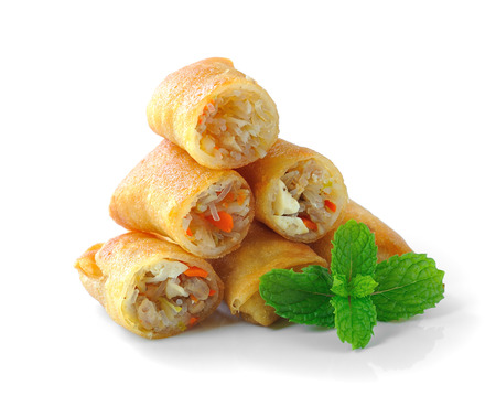 Fried Chinese Traditional Spring rolls food isolated on white  photo