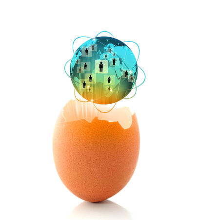 next horizon: New world business concept with a glowing global egg