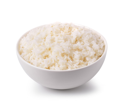 rice in a white bowl isolated on white