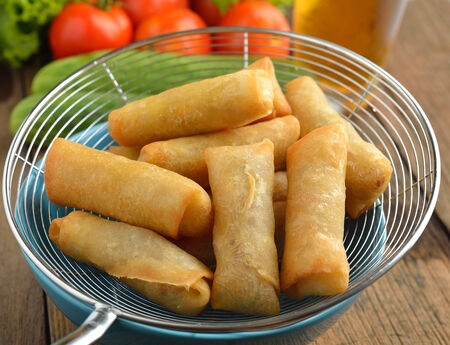 spring roll: Fried Chinese Traditional Spring rolls food Stock Photo