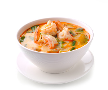 Tom Yam Kung (Thai cuisine) isolated on white background Stock Photo