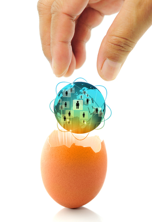 emerging markets: New world business concept with a glowing global egg