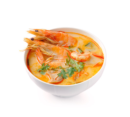 Tom Yam Kung (Thai cuisine) isolated on white background Stock Photo - 28493052